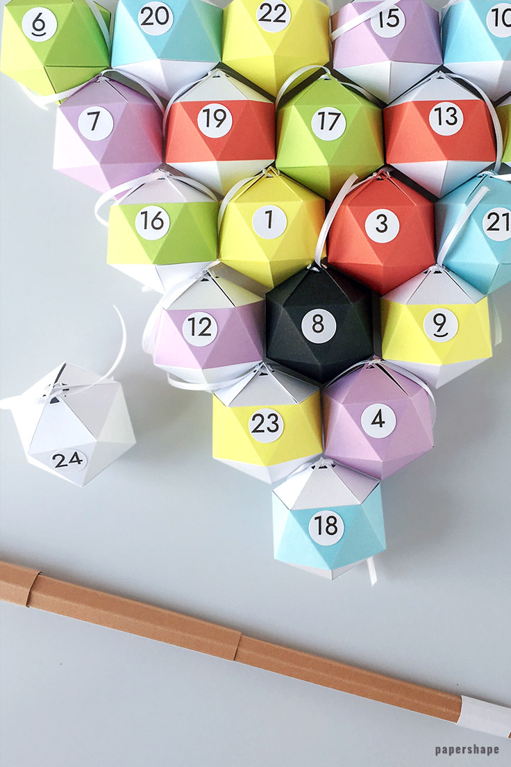 diy billard advent calendar for your boyfriend - free template from #papershape