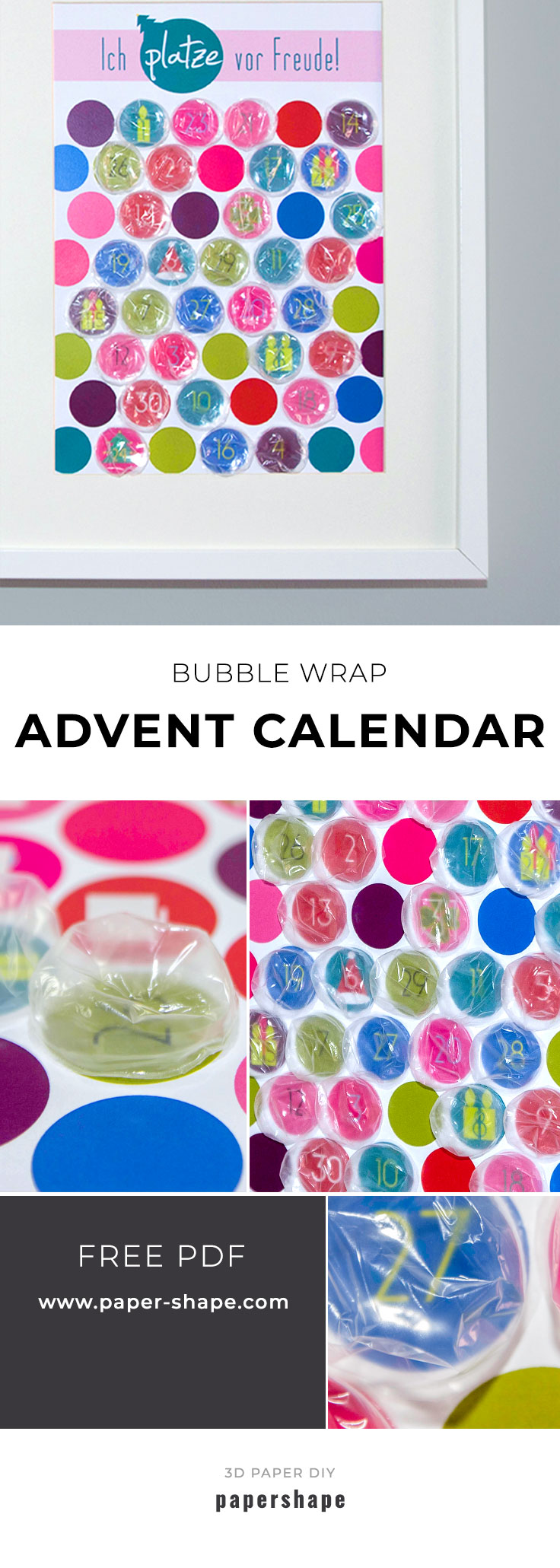 diy Christmas Advent calender from bubble wrap - free printable from #papershape