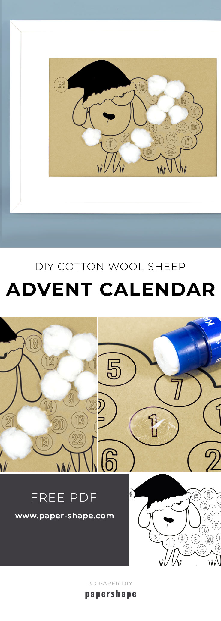 diy cotton wool Advent calender for children with free template from #papershape
