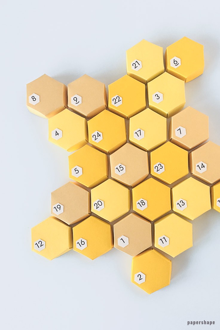 DIY Advent calendar idea from paper: 3d honeycombs for filling #papershape
