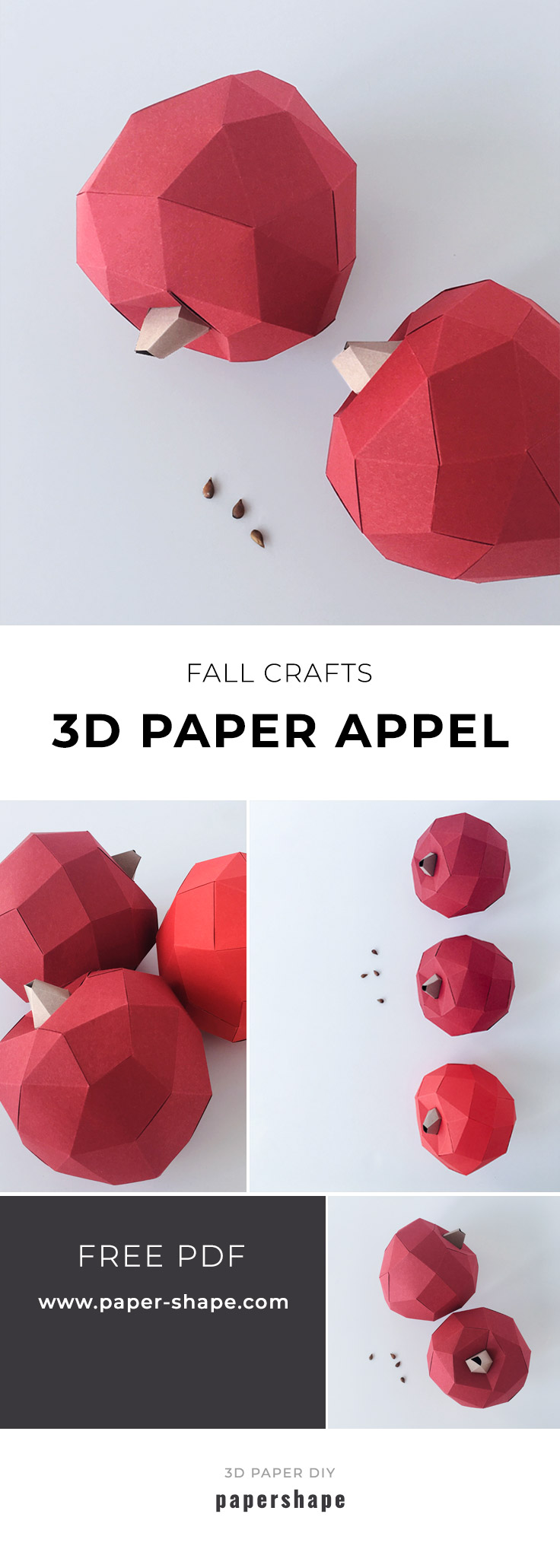 Apple paper craft for your fall decor (with free template from PaperShape) #papershape #falldecorideas