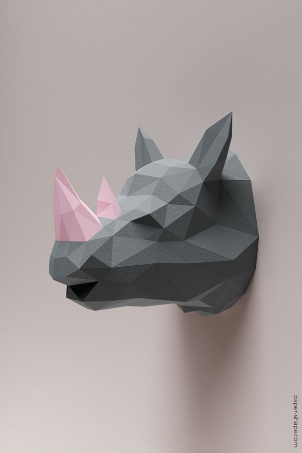 How to make 3d rhino from paper #papercraft #diy