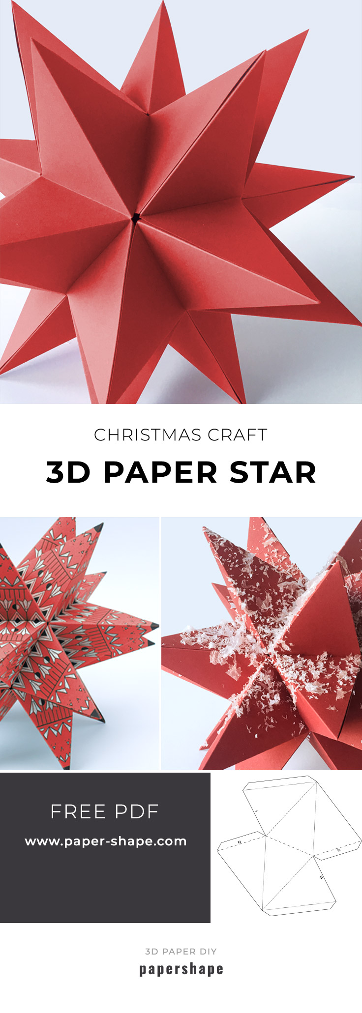 DIY 3d paper star for Christmas with template #papershape