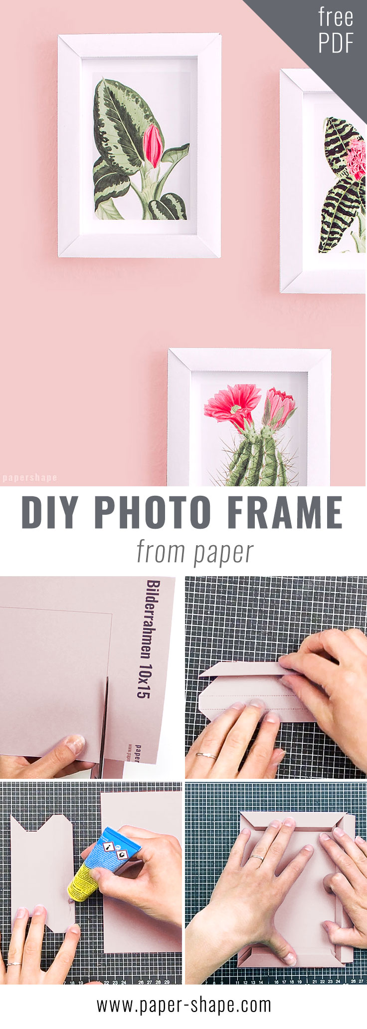 Paper photo frame tutorial - cute diy with template and instructions / PaperShape #papershape #photoframe #diywithkids #walldecor