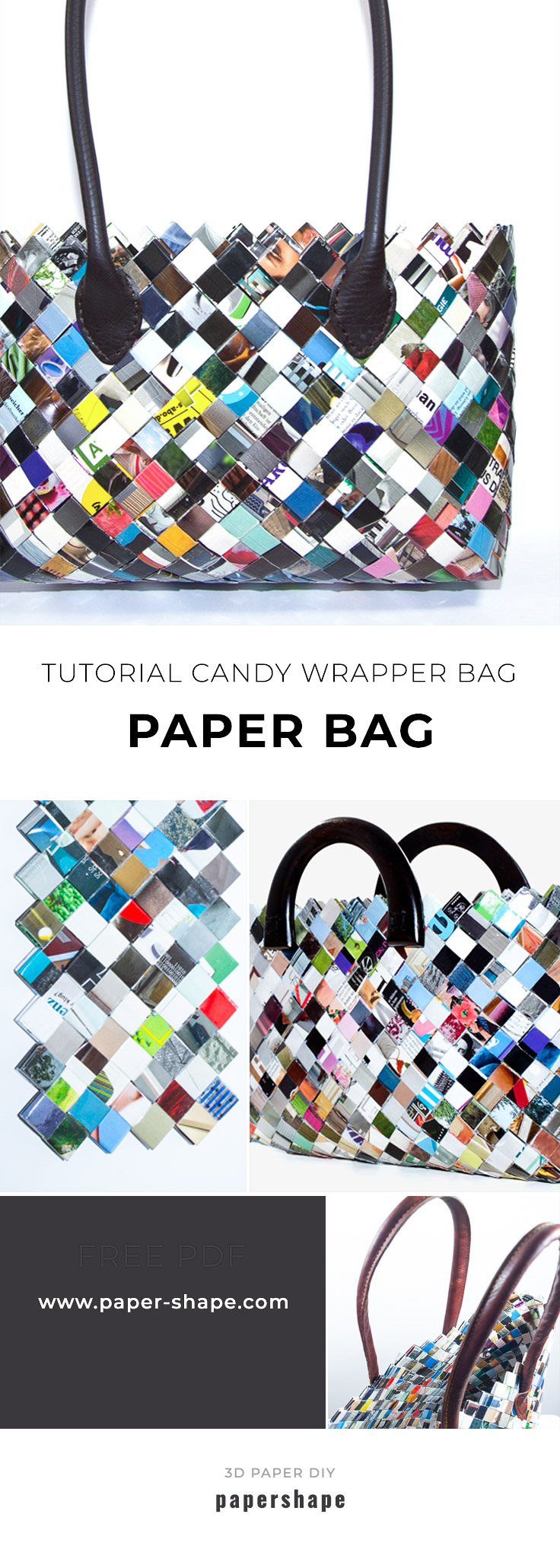 tutorial: candy wrapper bag from magazine leftovers diy #papershape