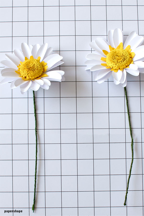 How to make fun paper daisy flowers for home decor or birthday present #papercraft #paperflowers #paperdaisy #happybirthday