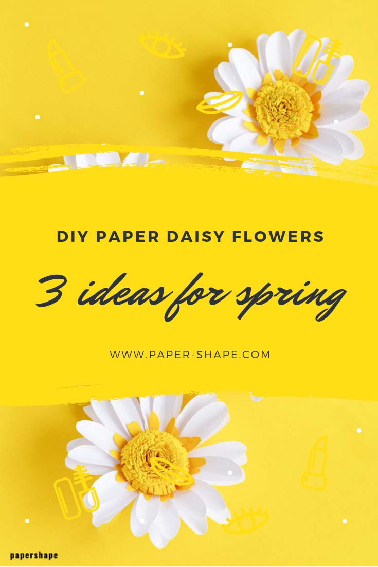 How to make paper daisy flowers with template (step by step tutorial) #papercraft #paperflowers #paperdaisy