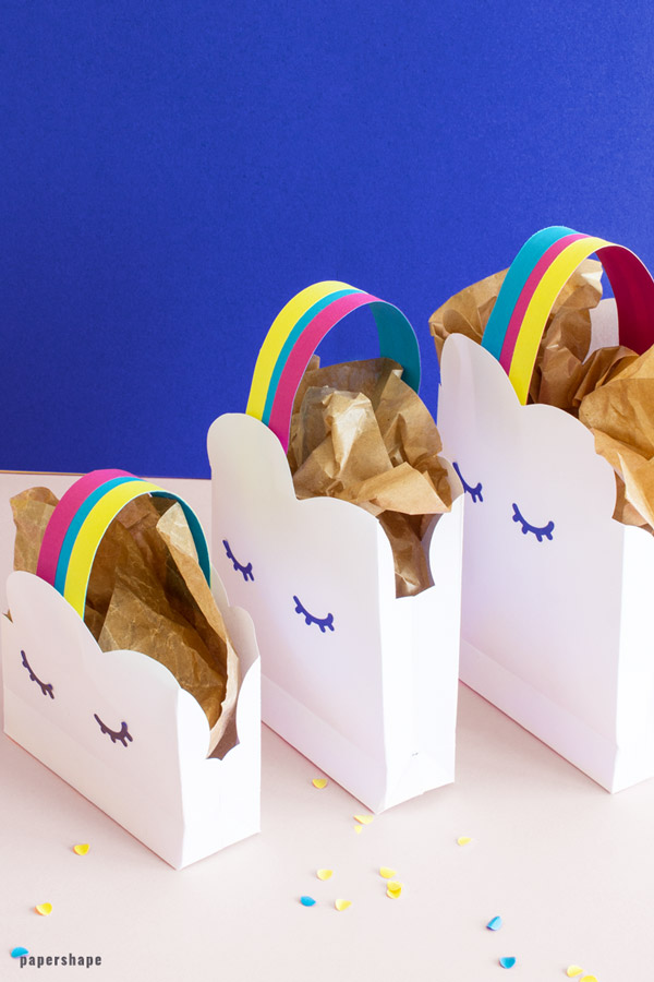 How to make paper gift bags - rainbow and clouds #papercraft