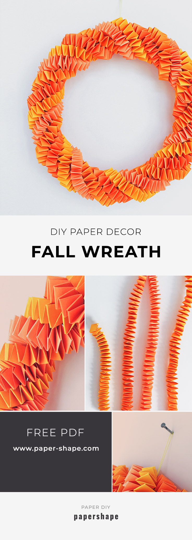 fall craft: diy fall wreath with paper strings. easy to make even with children #papershape