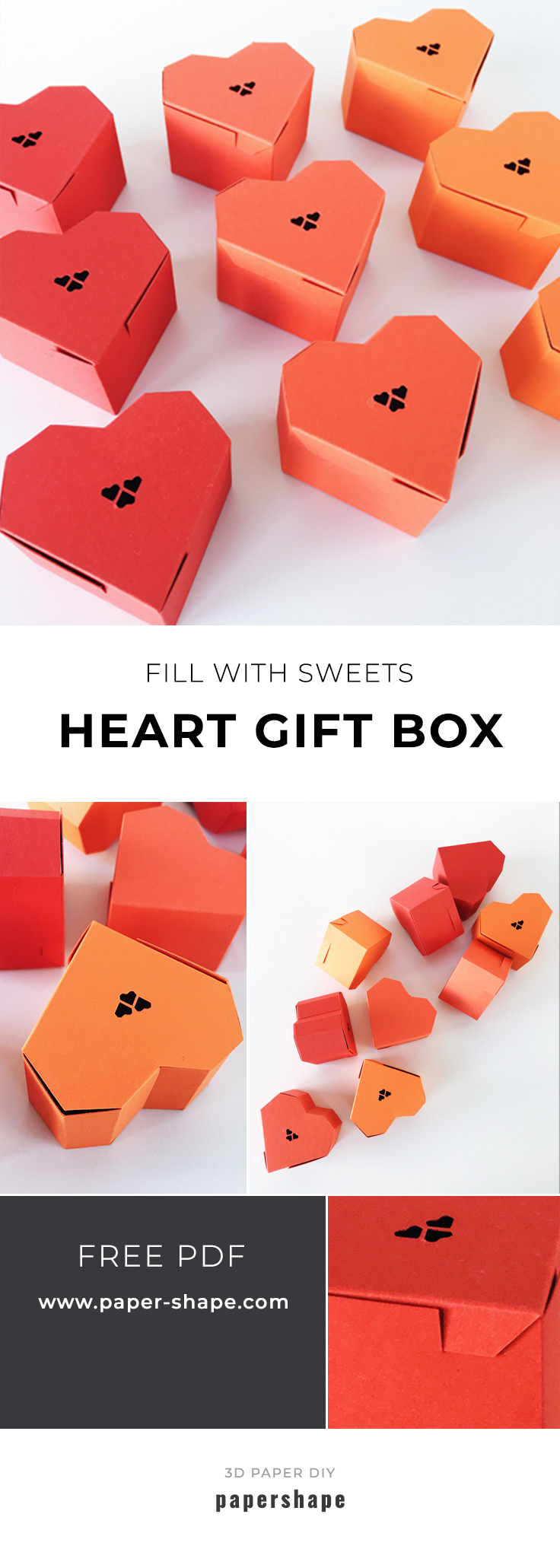 diy paper craft tutorial: heart gift box with free printable from #papershape