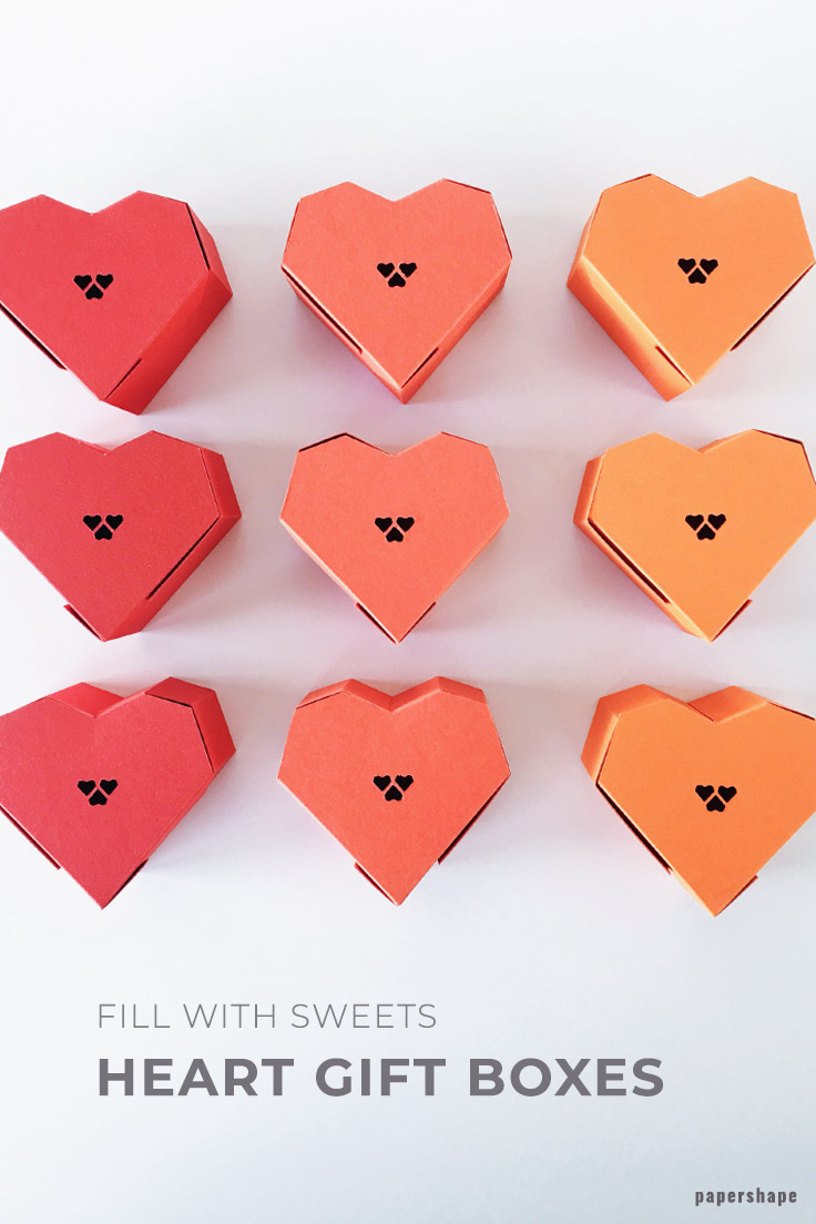 diy paper craft tutorial: heart gift box with free template from #papershape