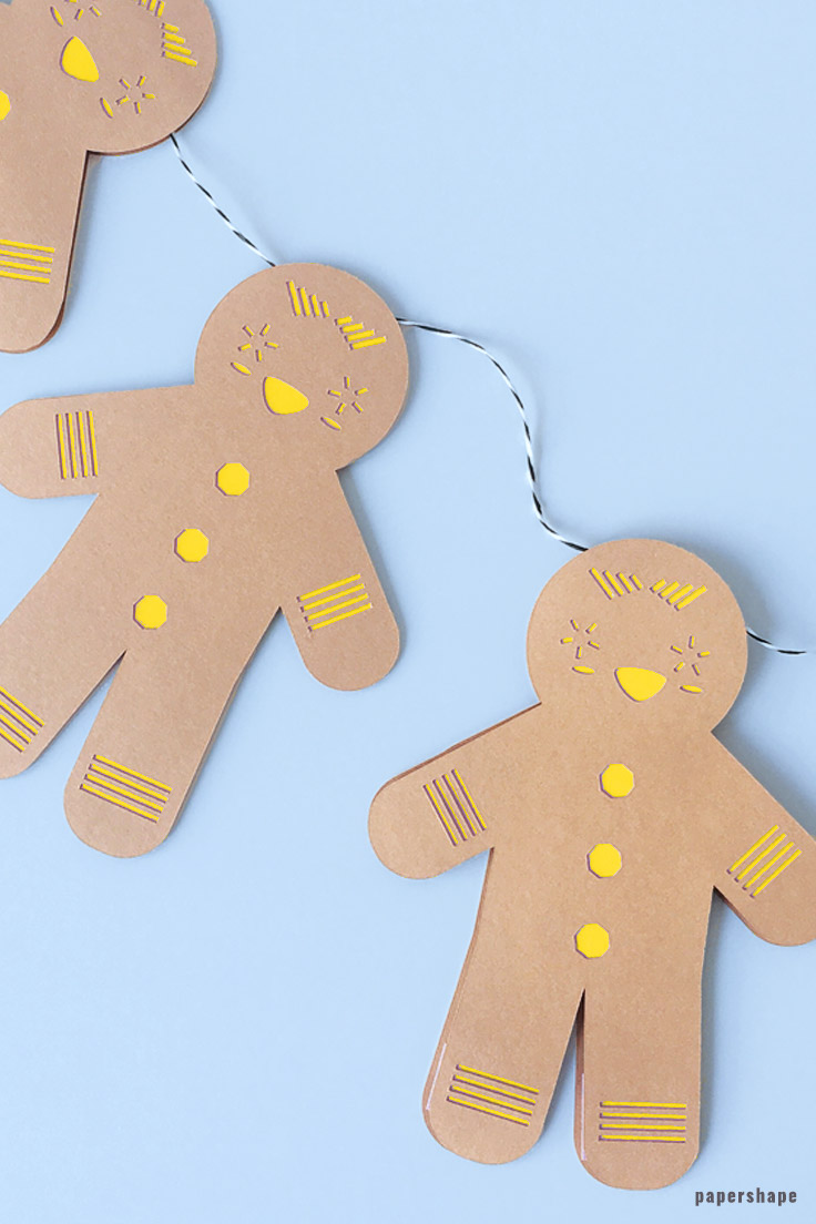 Christmas Crafts Diy Ginger Bread Man From Paper With Template Papershape