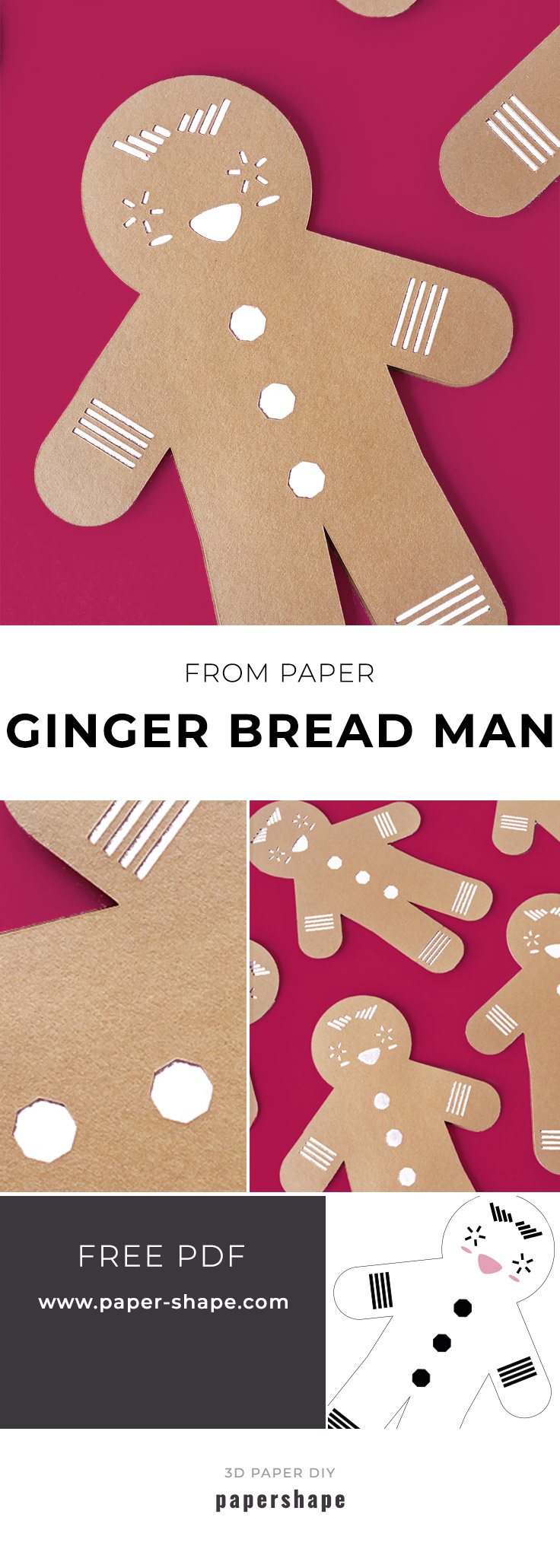 christmas crafts: diy ginger bread man from paper with template #papershape