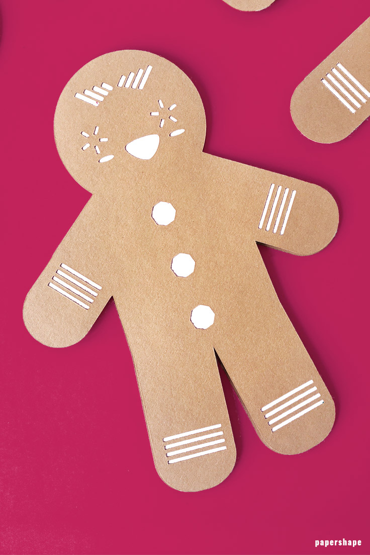 christmas crafts: diy ginger bread man from paper with template. use it for garlands, gift tags oder Christmas decor #papershape