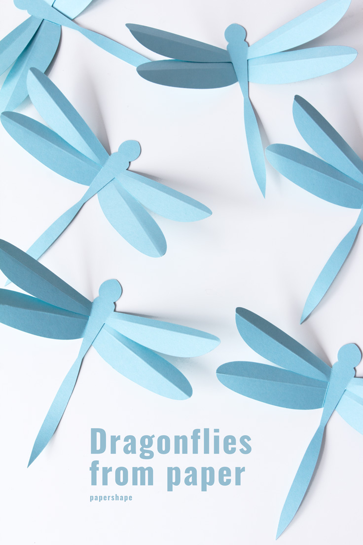 3D Dragonfly diy - cool paper craft even with kids #papershape #papercraft #diy