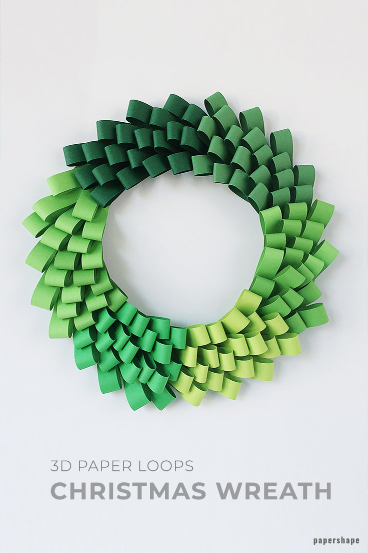 Diy Ombre Christmas Wreath From Paper Loops Free Templates