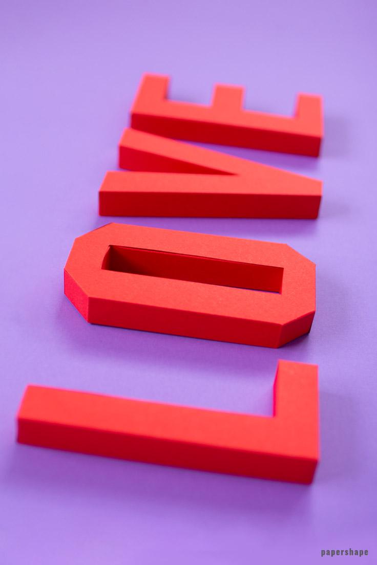 3d Love Schriftzug Basteln Mit Papier Kostenlose Vorlage Papershape