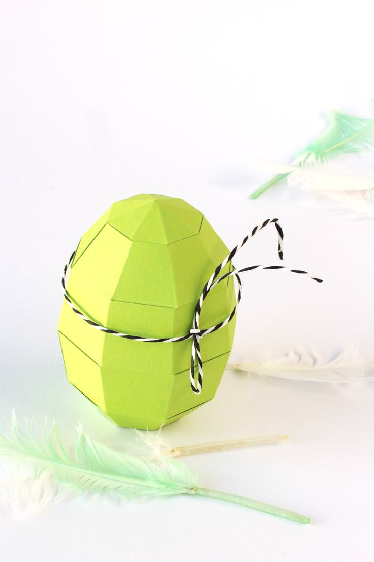 Easter egg paper craft tutorial with free template - choose your color / PaperShape #eastereggs #easter #papercraft #diy