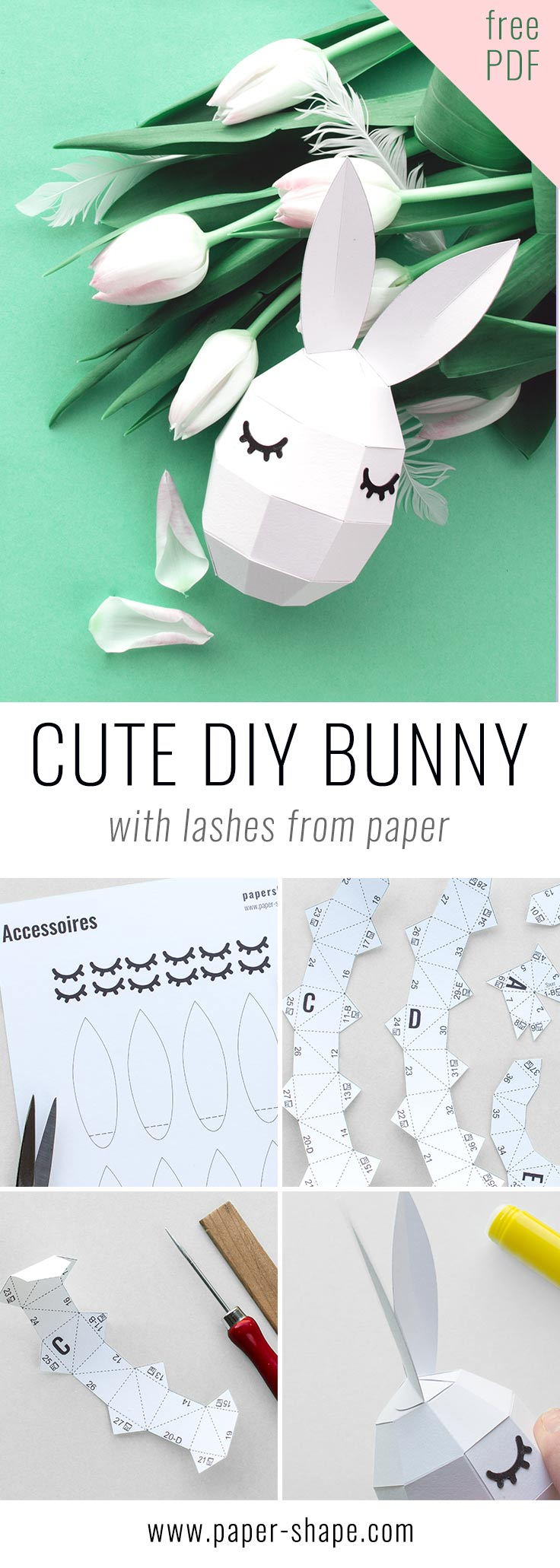 Super cute diy bunnys with lashes (free template) / PaperShape #eastereggs #easter #papercraft #diy