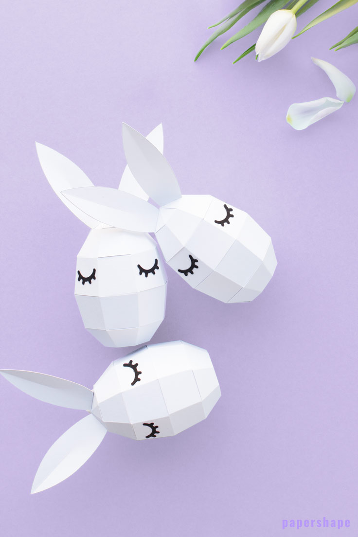 Modern Easter egg paper craft with free template / PaperShape #eastereggs #easter #papercraft #diy