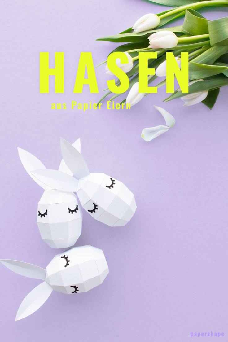 DIY paper bunny with cute lashes / PaperShape #eastereggs #easter #papercraft #diy