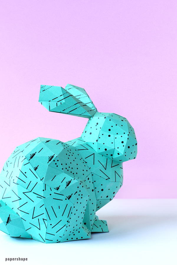 diy paper bunny with template. the rabbit looks adorable and you can hide small Easter gifts in its belly (with pictures and how to video) / PaperShape #easterbunny #easter #papercraft #diy
