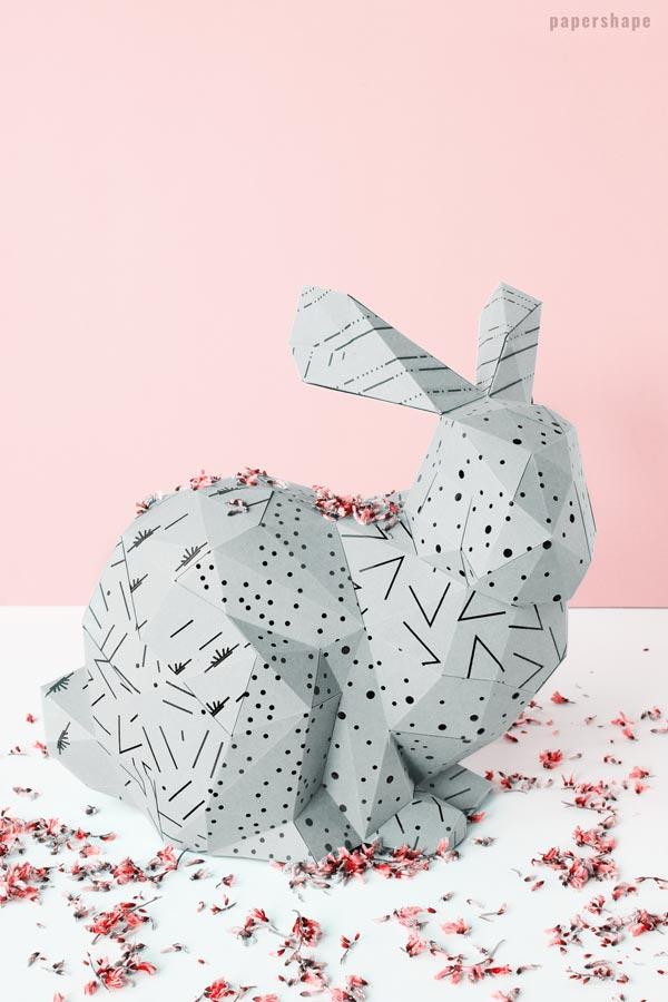 3D Paper Bunny Craft (fancy diy Easter decoration) - Papershape