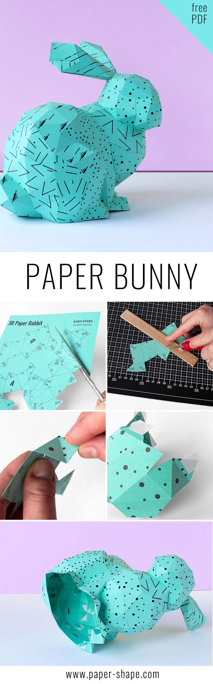 DIY Easter rabbit craft: easter bunny from paper in 3D. Cool papercraft model to build and the download is for free. / PaperShape #easterbunny #papercraft
