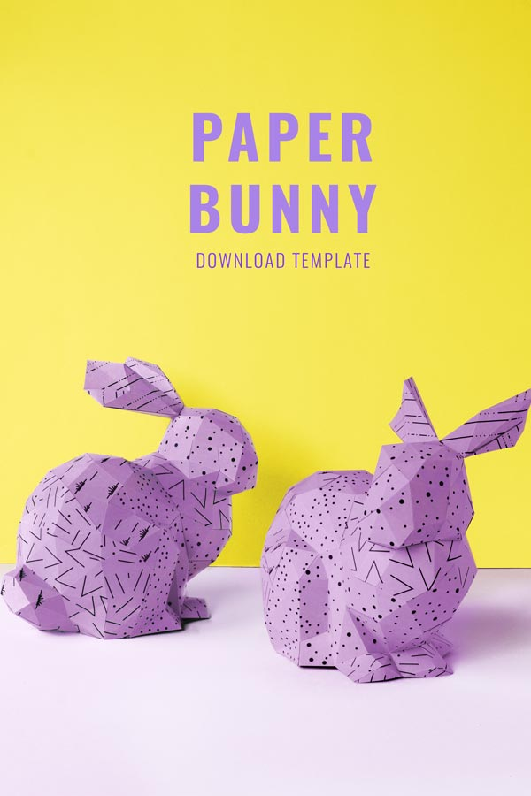 Paper rabbit instructions with free pdf. Cool Easter rabbit craft. You just cut, fold and glue the paper parts / PaperShape #easterbunny #easter #papercraft #diy