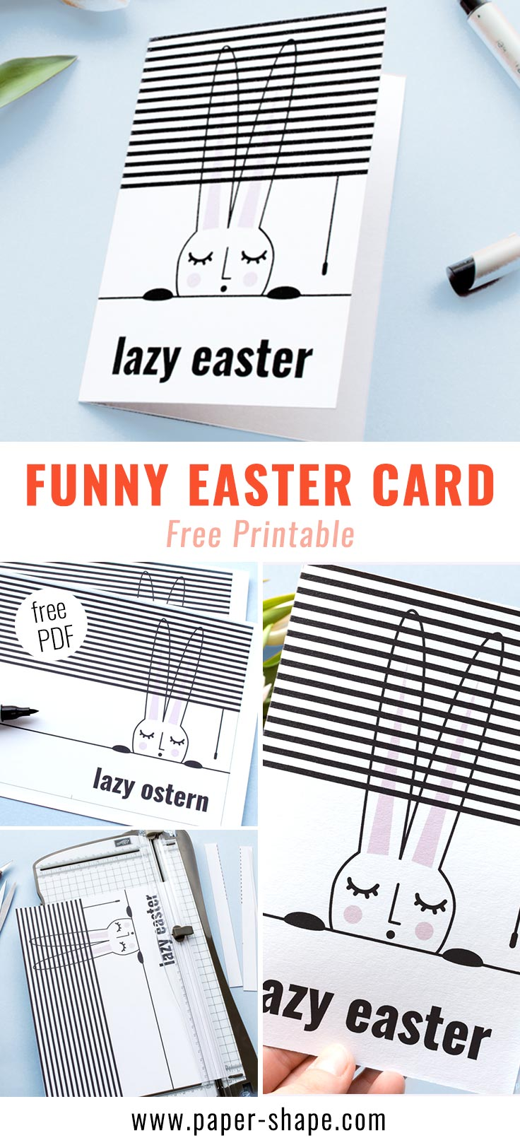 Handmade funny Easter card with free template./ PaperShape #eastergreetingcards #easter #papercraft #diy #papershape