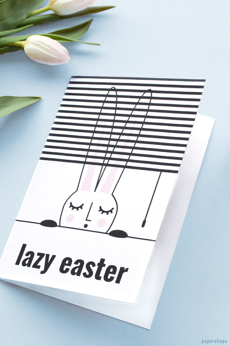 Funny Easter greetings with free printable. DIY your Easter card in 5 minutes / PaperShape #easter #papercraft #diy #papershape