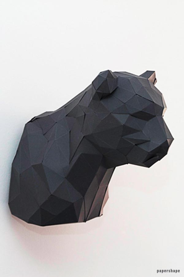 3d origami panther trophy from paper #papershape