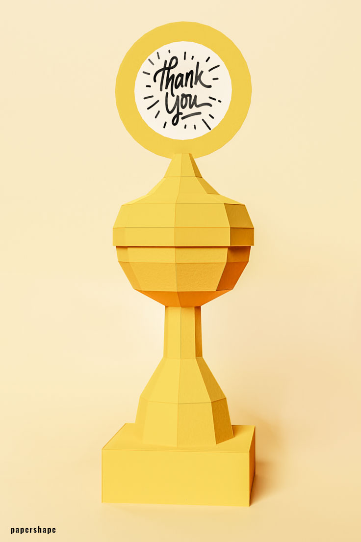 Paper Trophy DIY out of paper / PaperShape #diy #papertrophy #papercraft #3dpaper