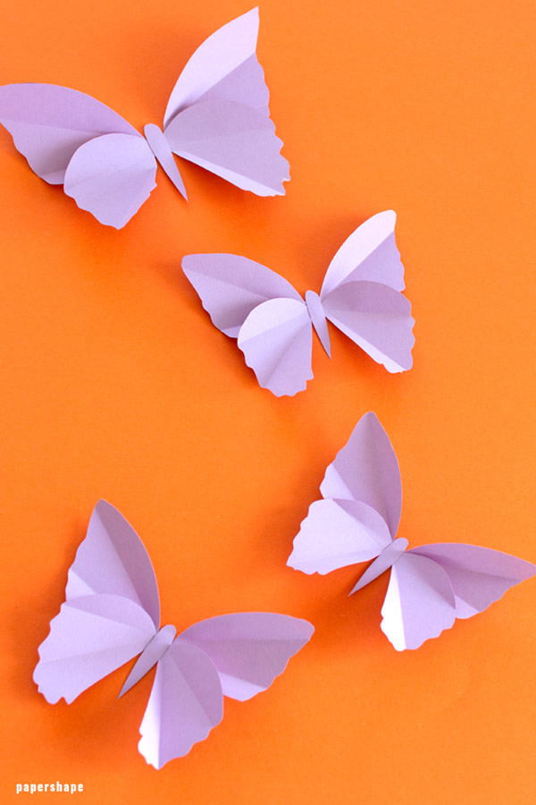 Simple Butterflies From Coloured Drawing Paper For Kids Papershape