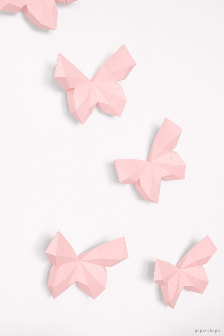 Paper Craft Your 3d Butterflies From Cool Wall Decor PaperShape Papershape