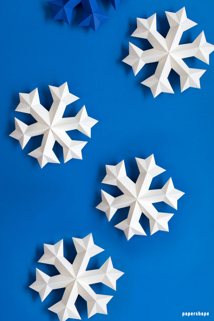 How to make 3d snowflake from paper (free template) - Papershape
