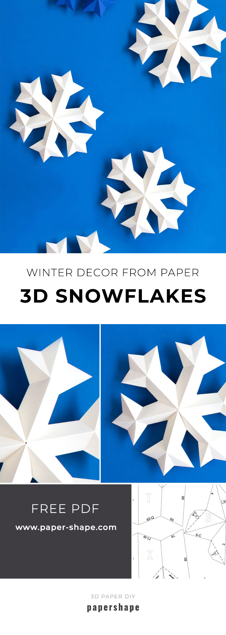 3d snowflake from paper - no silhouette. free template from #papershape