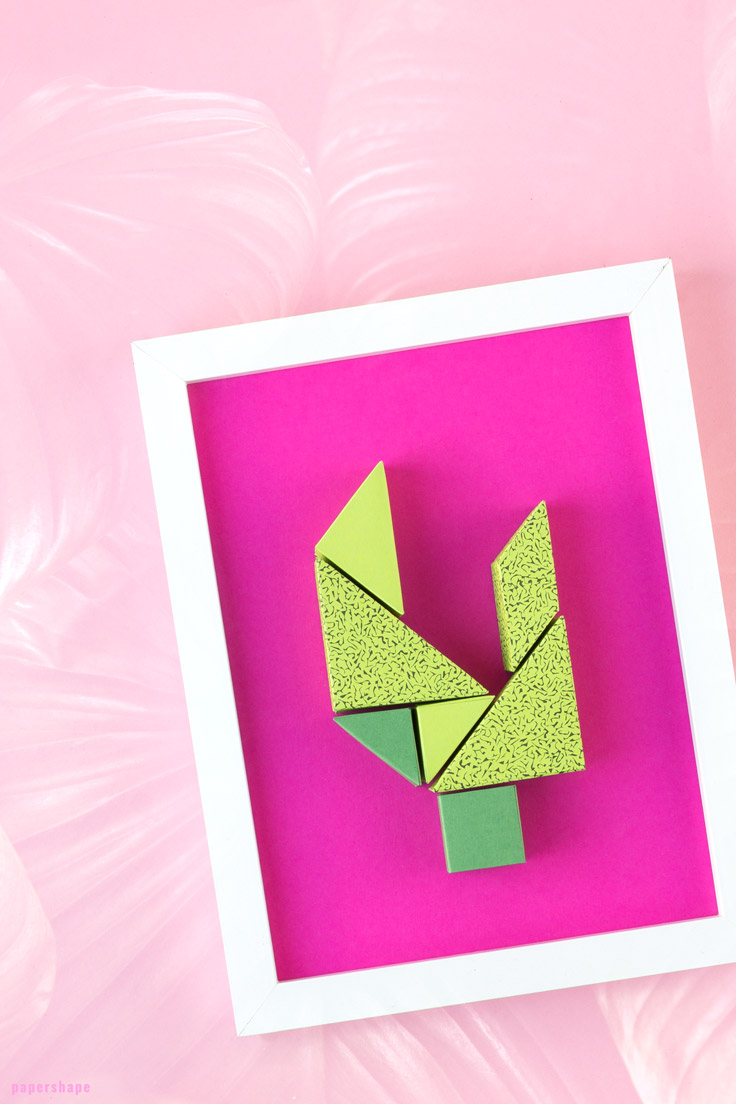 diy wall decor from paper: cute tangram cactus super easy and fun to make (free printable) / PaperShape #papershape #diy #walldecor