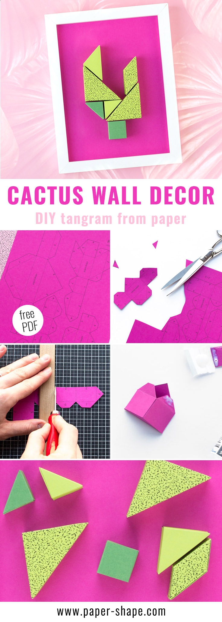 DIY wall decor from paper (free printable): tangram cactus in fancy colors /PaperShape #papershape #walldecor #diy #paper