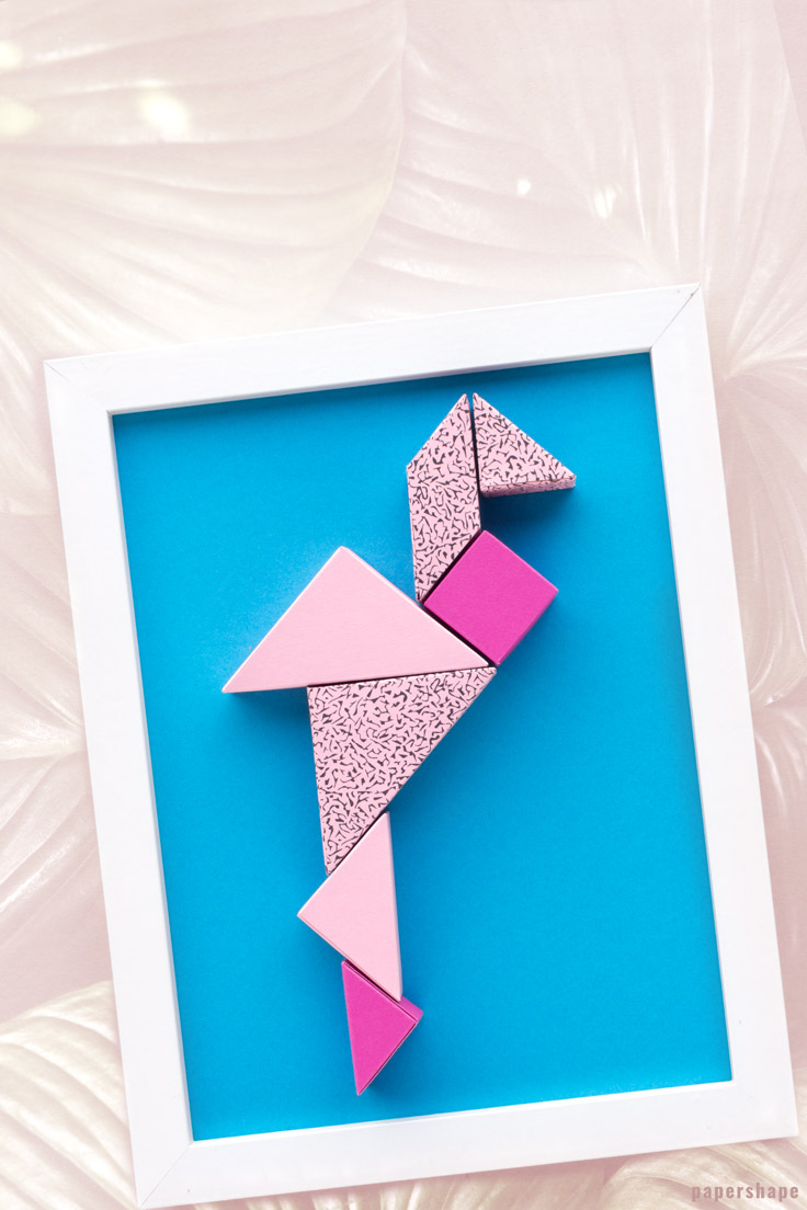 diy wall decor from paper: cute tangram flamingo super easy and fun to make (free printable) / PaperShape #papershape #diy #walldecor