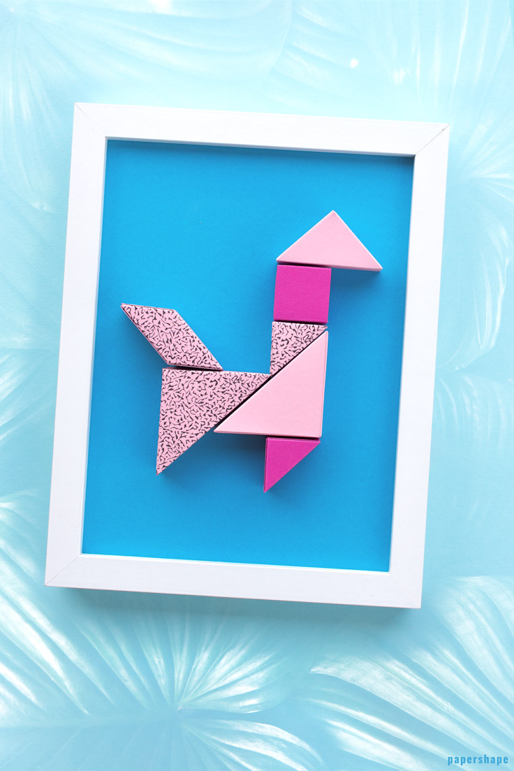 diy wall decor from paper: cute tangram lama super easy and fun to make (free printable) / PaperShape #papershape #diy #walldecor