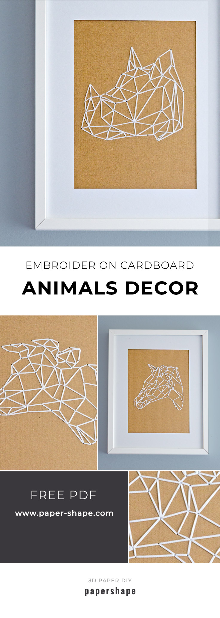 How to embroider geometric animals on cardboard (with templates) #papershape