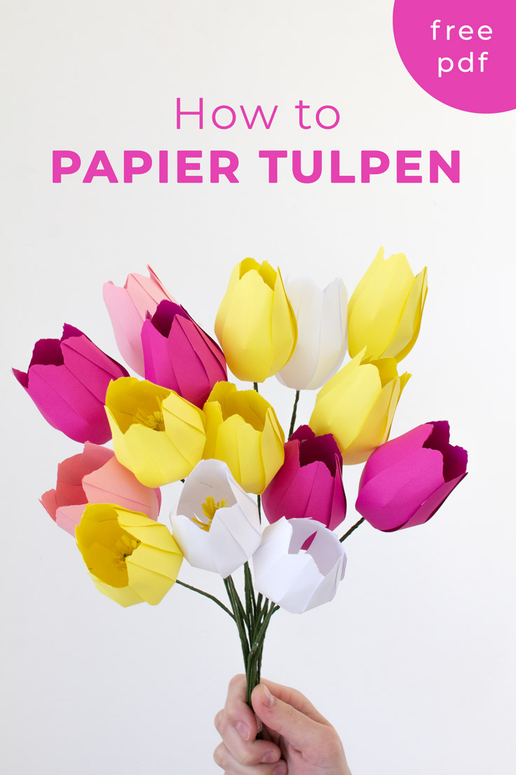How to make easy paper flowers: follow these simple steps and template to make your own tulips #mothersday #valentinesday #papercraft #papercrafts #paperflowers