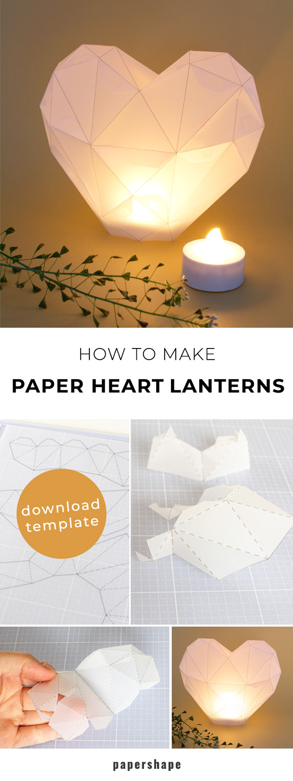 DIY heart lantern as a centerpiece for the wedding table #papercraft #weddinglantern #diy