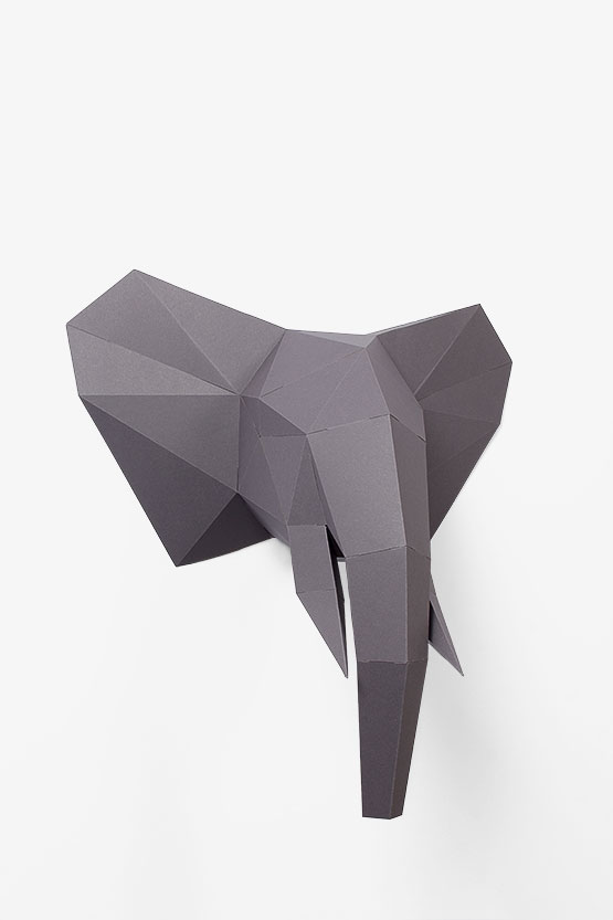 3d Elephant trophy from paper hanging super stylish at the wall. Fun papercraft diy with no-glue | PaperShape #elephanttrophy #papercraft