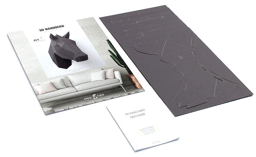pferdekopf 3d papershape. Black Bedroom Furniture Sets. Home Design Ideas