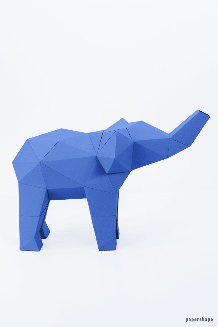 Turbo 3D Elefant Papierfigur - Papershape VX78