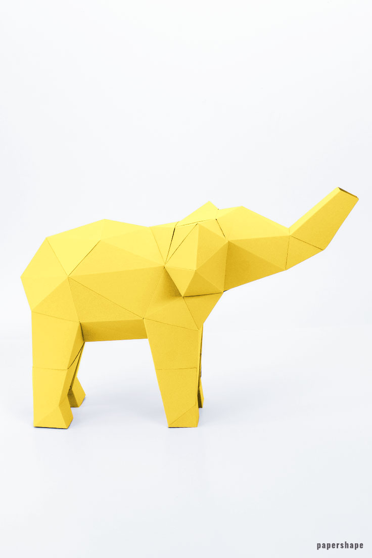 3d paper elephant diy #papershape #papercrafting