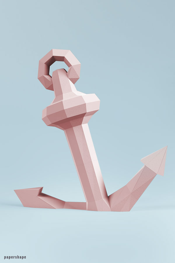 Papercraft anchor for your home decor #diypapercraft #origami #3dpapermodel #maritimedecor