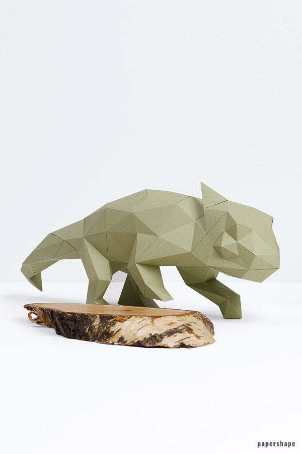 3d chameleon paper sculpture DIY #papershape